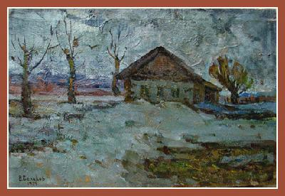 "14036 ""Winter overcast day"" (oil on canvas, 18""x24"", 1979) Russian Art Exhibition in Art Danish 2005"