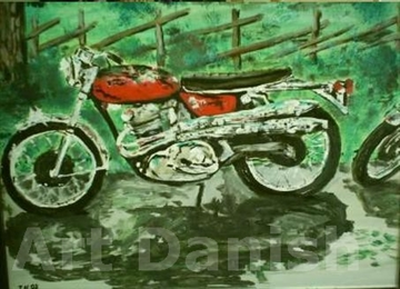 Norton motorcykel oil painting on board by Artist thomas nordström